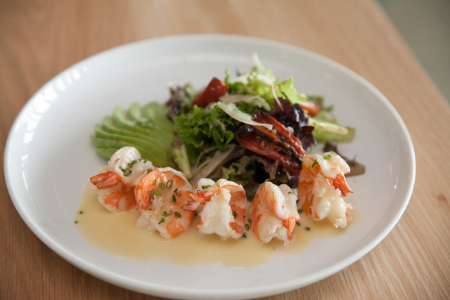 avocado, mesclun greens, truffle beurre blanc - Warm Shrimp Salad at Verde