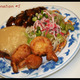 * Pork Chow Mein * S & S Ribs * Fried prawns * Egg Foo Young - Combination #5 at Dragon House
