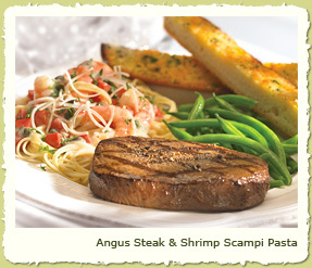 ANGUS STEAK & SHRIMP SCAMPI PASTA at Coco's Restaurant & Bakery