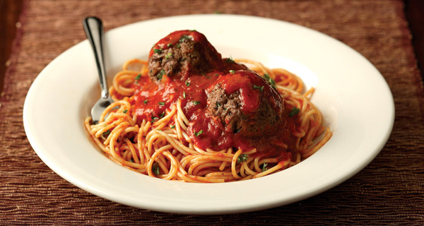 Spaghetti with Homemade Meatballs at Carino's Italian Grill
